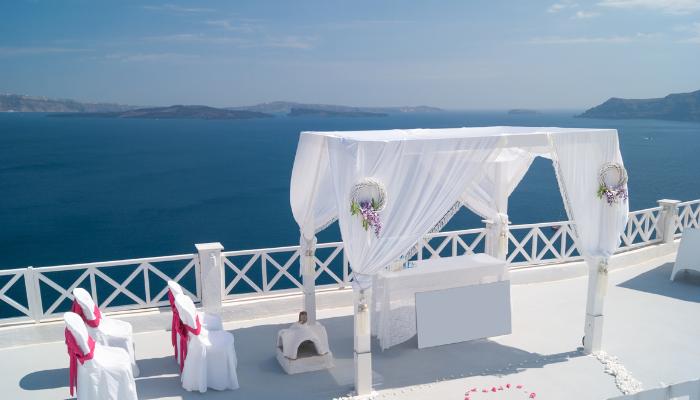 Outdoor wedding altar in Greece