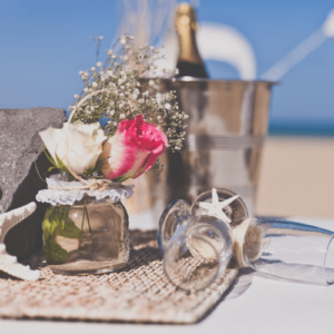Cups on beach