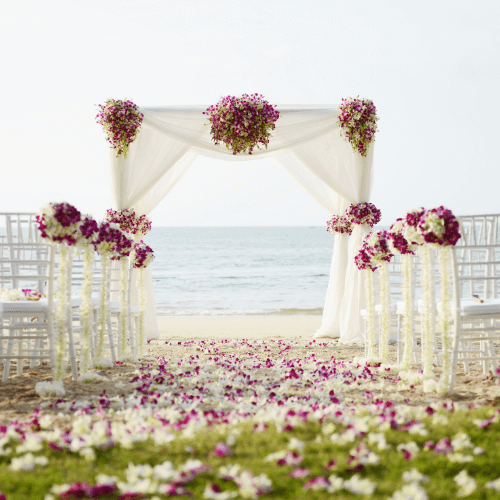 Outdoor altar with flowers spread around